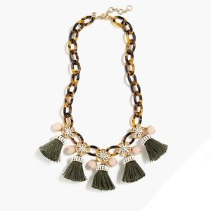 NWT J. Crew Tortoise link and tassel necklace